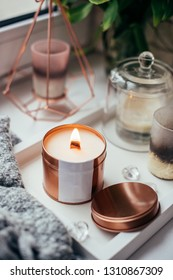 Elegant home decoration with wooden wick burning candle