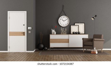Elegant home entrance with sideboard,armchair and closed door - 3d rendering