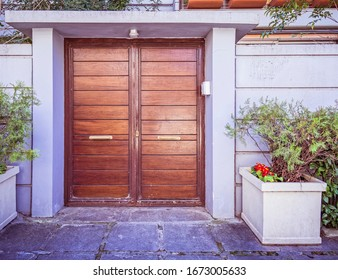 elegant house external natural wood double doors and potted plants