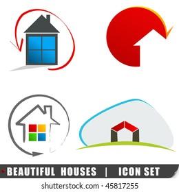 Elegant houses icon set