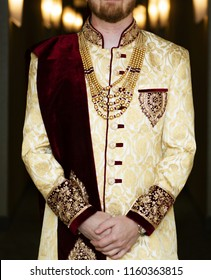 Elegant indian groom's wedding Sherwani attire