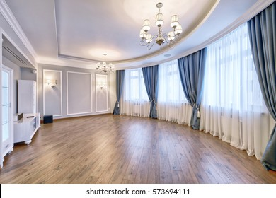 Elegant interior design with luxurious curtains and tulle