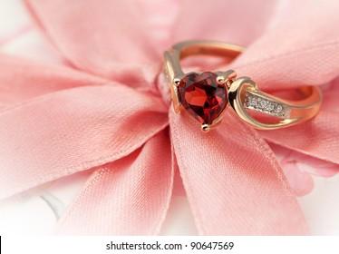 Elegant jewelry ring with jewel stone garnet