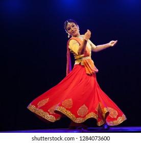 A elegant kathak female dancer is in awe of god's beauty at the 'Nazariya' event by Natya Institute of Kathak and Choreography on January 11,2018 held at Bharatiya Vidya Bhavan hall in Bengaluru,India