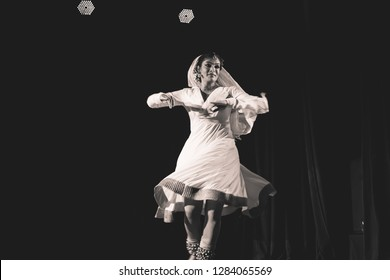A elegant kathak female dancer doing a chakkar at the Nazariya' event by Natya Institute of Kathak and Choreography on January 11,2018 held at Bharatiya Vidya Bhavan hall in Bengaluru,India