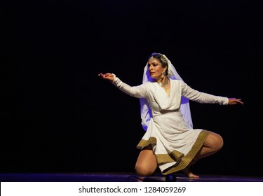 An elegant Kathak female dancer  looks at the river at the Nazariya' event by Natya Institute of Kathak and Choreography on January 11,2018 held at Bharatiya Vidya Bhavan hall in Bengaluru,India