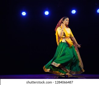 A elegant kathak female dancer returns home after sunset at the 'Nazariya' event by Natya Institute of Kathak and Choreography on January 11,2018 held at Bharatiya Vidya Bhavan hall in Bengaluru,India