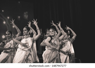 Elegant lavani dancers perform at the'Geetanjali season 4' on August 25,2019 at Chowdiah hall in Bengaluru India
