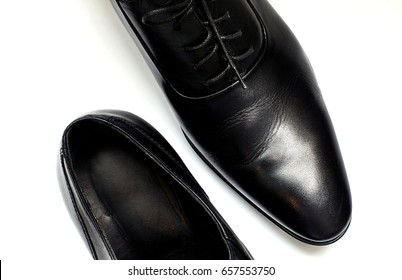Elegant leather shoes for men isolated on white background