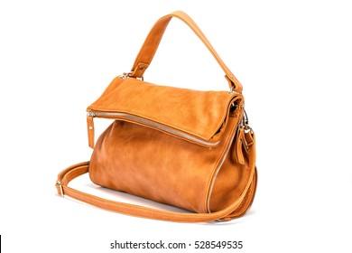Elegant  leather woman's handbag isolated on white background