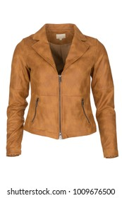Elegant light brown woman's leather jacket, photographed on ghost mannequin, isolated with white background. Front view.