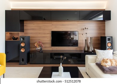 Elegant living room with black and oak cabinets