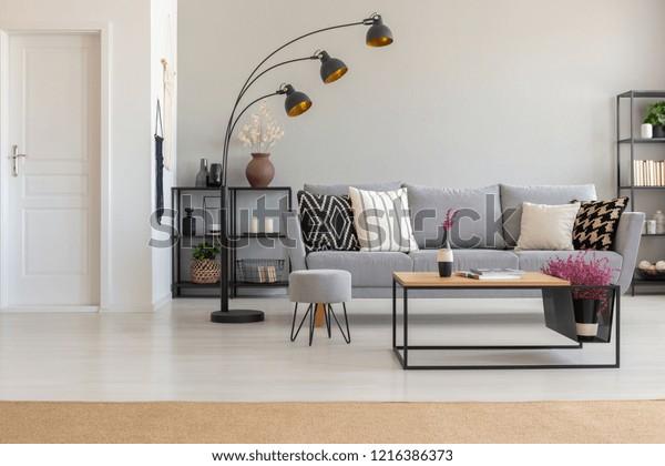 Pleasant Elegant Living Room Grey Sofa Patterned Stock Photo Edit Pdpeps Interior Chair Design Pdpepsorg