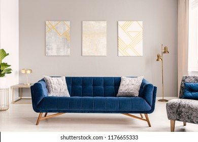 Elegant living room interior with a comfortable big blue velvet sofa and gold decorations. Real photo.