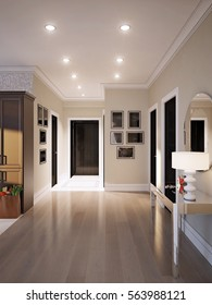 Elegant and luxurious hall with beige walls, dark doors and gray and white marble tiles. 3d render.