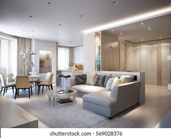 Elegant and luxurious light open living and dining room with white walls, bright stone floors and large white glossy wardrobe. 3d render