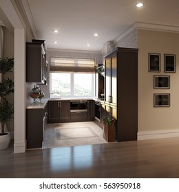 Elegant and luxurious open kitchen chocolate and beige colors with gray and white tiles. 3d render.