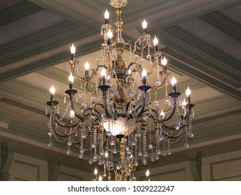 Elegant luxury chandelier in a luxury restaurant. Chrystal chandelier.