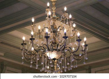 Elegant luxury chandelier in a luxury restaurant. Chrystal chandelier