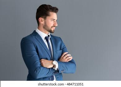 Elegant male model look in distance, side profile image