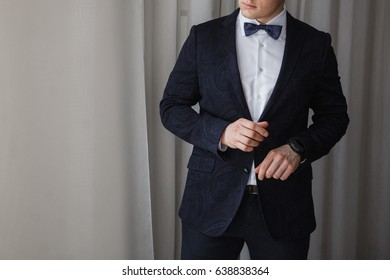 An elegant man is going to work