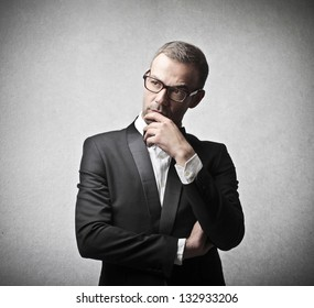 elegant man reflects concentrated