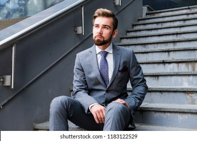 The elegant man in a suit
