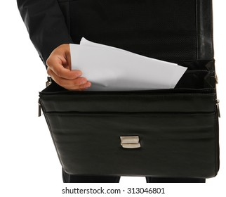 Elegant man in suit with briefcase close up