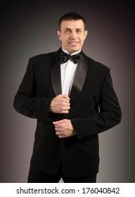 Elegant Man in Tuxedo. Fashion