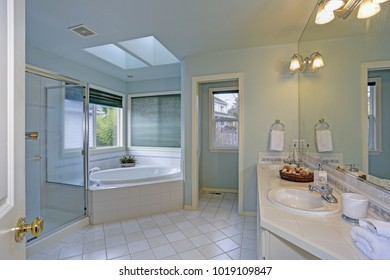 Elegant master bathroom features soft blue walls paint color, twin skylights over a white tiled tub and walk-in shower.
