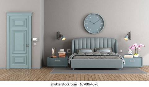 Elegant master bedroom with blue bedroom and closed door - 3d rendering