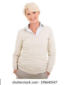 elegant mature woman on white background