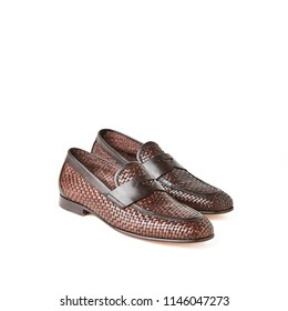 Elegant men's brown weave loafers shoes. Studio, white background