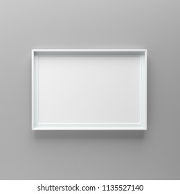 Elegant and minimalistic picture frame standing on gray wall. Design element. 3D render, light from top