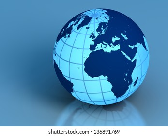 Elegant model of Earth isolated on blue background. Elements of this image furnished by NASA.