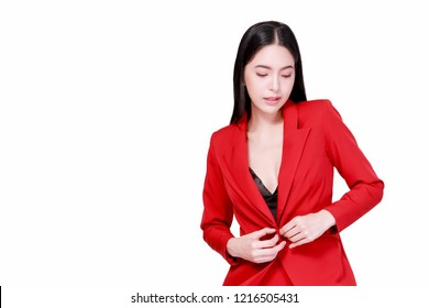 Elegant and modern Asian confident business woman in style isolated over white background