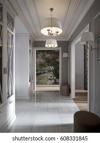 Elegant Modern Classic Provence and Luxurious Hall Interior Design with Gray Walls, White Gray Marble Floor, White Doors and White Plaster Moldings. 3d render.