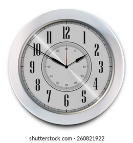 Elegant Modern Office Wall Clock Isolated on White. 3D illustration.