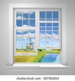 Elegant and Modern residential half open window with green field, old dutch mill and small stream.