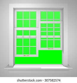 Elegant and Modern residential half open window with green box background to key anything you want.