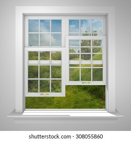 Elegant and Modern residential half open window with trees and blue sky behind in countryside.