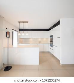 Elegant modern white kitchen in apartment. Nobody inside, copy space