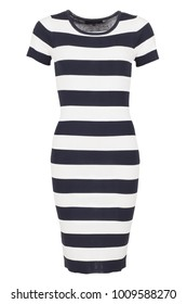 Elegant navy and white striped basic fashion dress with short sleeves, photographed on ghost mannequin with white background. Front view.
