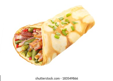 Elegant, neat,hearty crepe stuffed with roasted bacon and tiny gherkins isolated on white shadowless.