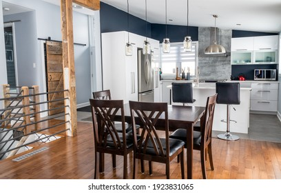 elegant new modern home interior dining room and kitchen