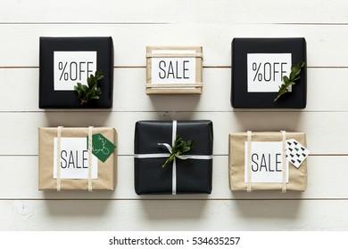 Elegant nordic retro christmas presents, desk view from above, xmas sale concept