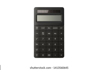 Elegant office calculator with solar panel isolated white background