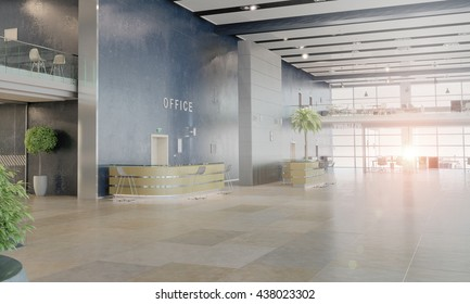 Elegant office interior . 3D render