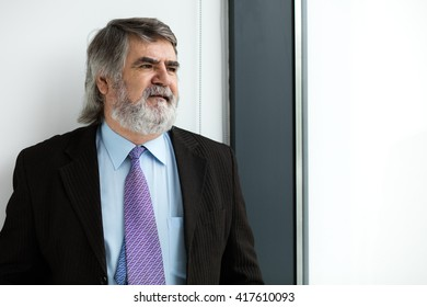 elegant old men with beard standing next to a window