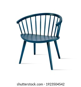 Elegant old-fashioned vintage blue wooden chair isolated on white background. Series of furniture